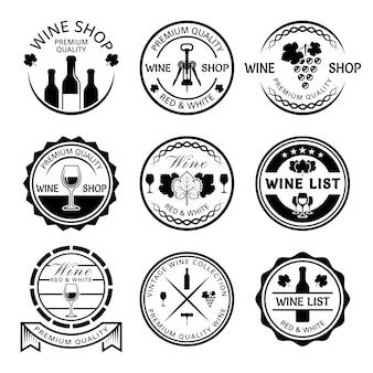Loja de vinhos e carta de vinhos com rótulos monocromáticos, distintivos e emblemas