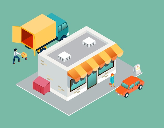 Loja e entrega vista lateral superior 3d isométrica. venda e compra, serviço de comércio, logística de processo, suporte ao comprador.