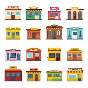 Loja, fachada, loja frente, ícones, jogo