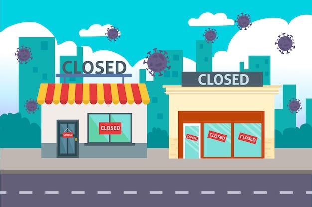 Loja fechada em tempo de pandemia