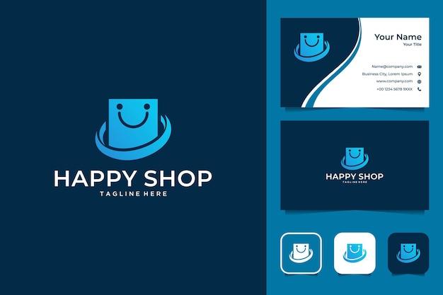 Loja feliz com design de logotipo de sorriso e cartão de visita