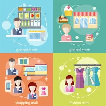 Loja geral, shopping e loja de moda