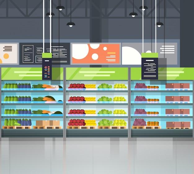 Loja interior vazia do mercado super moderno, supermercado com variedade do alimento do mantimento