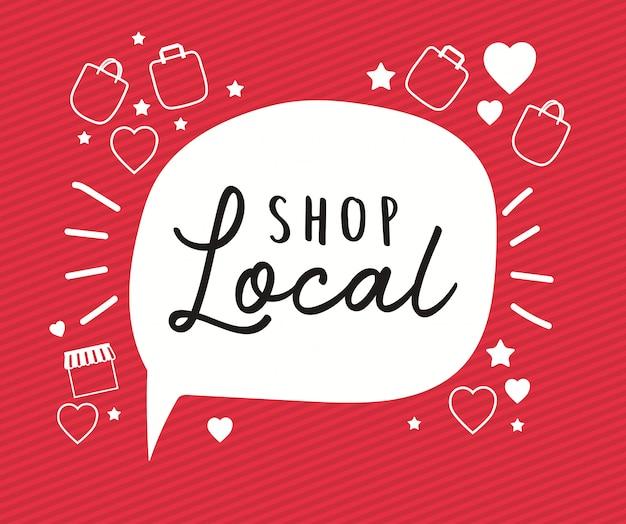 Loja local em bolha com sacos corações e estrelas design de compra de varejo e tema do mercado