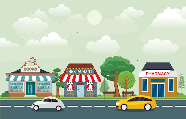 Loja loja paisagem na cidade urbana com céu de árvore