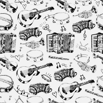 Loja musical decorativa papel de embrulho padrão sem costura com cordas clássicas percussão instrumentos de jazz doodle esboços ilustração vetorial