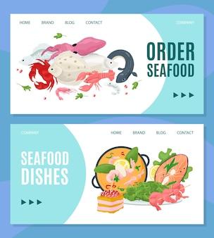 Loja on-line de frutos do mar, peça no restaurante