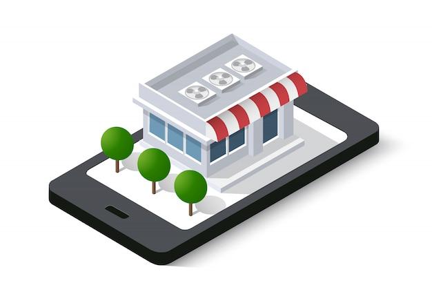 Loja on-line do telefone móvel da cidade isométrica