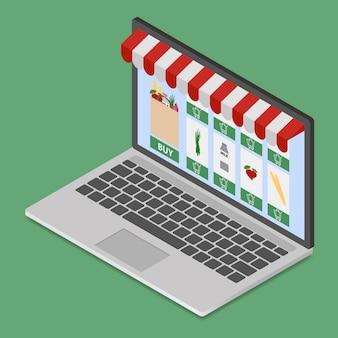 Loja on-line no laptop moderno