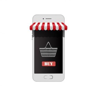 Loja on-line no telefone inteligente