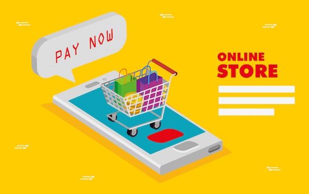 Loja online com smartphone