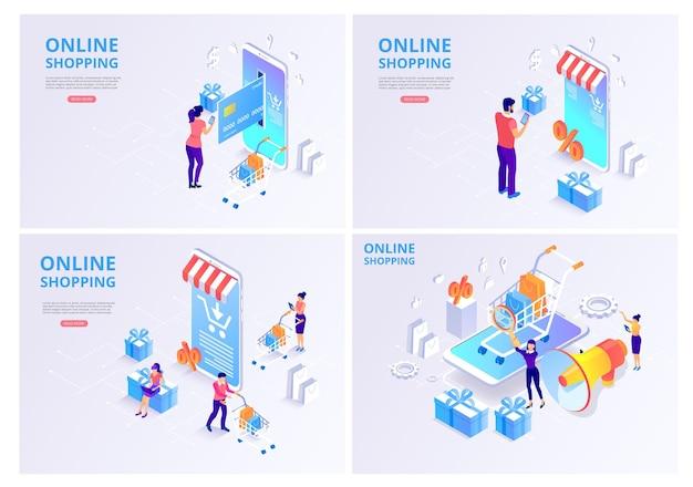 Loja online, compras, pagamento online conjunto de modelos de página inicial com produtos e clientes de smartphones 3d