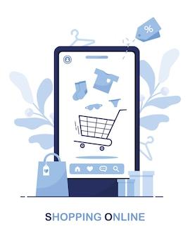 Loja online. compre por telefone. modelo de loja. vender para fora. compre agora. ordem de casa. azul Vetor Premium