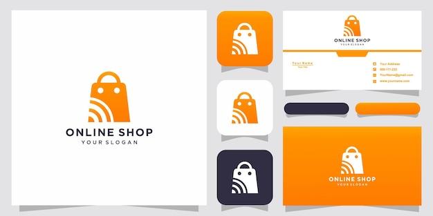 Loja online criativa, modelo de logotipo combinado com bolsa e cartão de visita