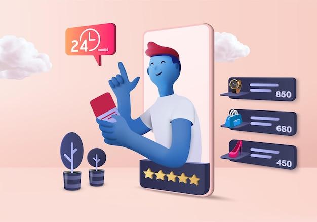 Loja online de compras 3d para venda, fundo rosa pastel de e-commerce móvel, loja online no aplicativo móvel 24 horas. carrinho de compras, cartão de crédito. renderização mínima do dispositivo da loja online