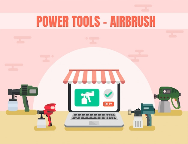 Loja online de ferramentas de poder airbrush vector