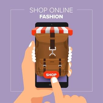 Loja online de loja móvel conceito de design plano de ilustrações. mão segure compras de moda de venda móvel.