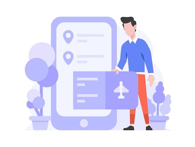 Loja online ecommerce categoria de viagens compre passagem de avião no telefone ilustração do estilo de design plano