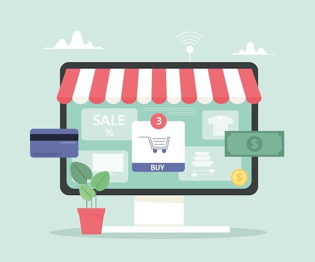 Loja online, ilustração digital de compras