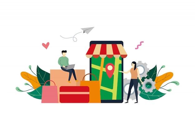 Loja online, localização de pinos para ilustração plana de serviço de entrega de loja virtual com pessoas pequenas