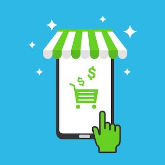 Loja online na ilustração móvel do smartphone