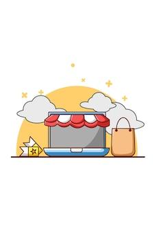 Loja online no laptop e ilustração dos desenhos animados do voucher de compras