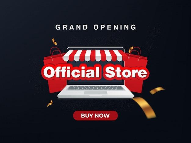 Loja online oficial, inauguração. fundo de venda
