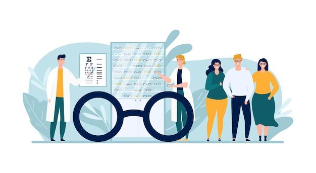 Loja ótica com óculos, ilustração vetorial. personagem de pessoas homem mulher no exame oftalmológico, comprando óculos na loja de oftalmologia.
