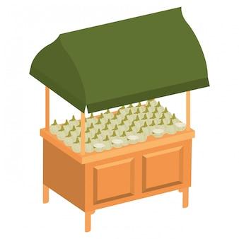 Loja quiosque com ícone isolado de legumes