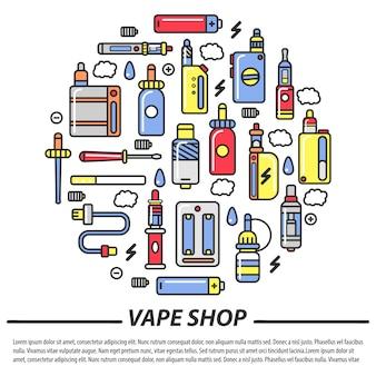 Loja vape e modelo de cigarros eletrônicos
