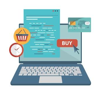 Loja virtual e no conceito de compras de linha