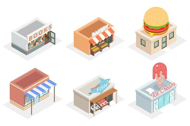 Lojas 3d e lojas em vista isométrica