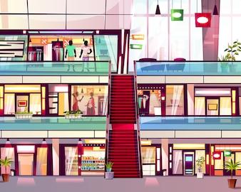 Lojas da alameda com ilustração da escadaria da escada rolante. Centro de comércio de andares de múltiplos andares moderno