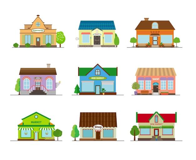 Lojas e edifícios de lojas. varejo comercial de rua, mercado de arquitetura e vitrine.