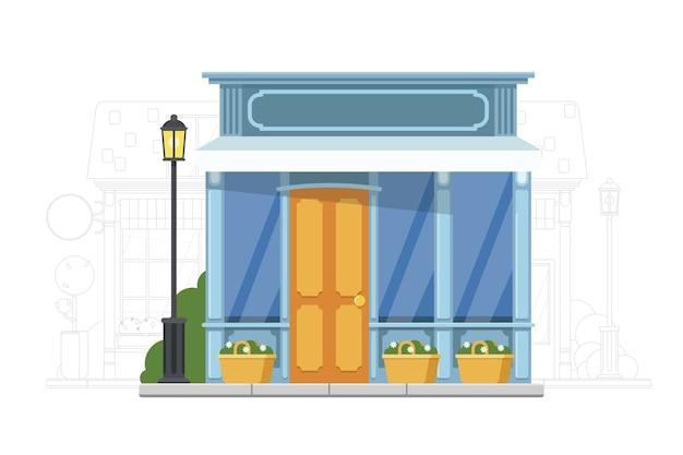 Lojinha. ícone de loja de rua pequena. casa com exterior em vidro. ilustração de imóveis comerciais. paisagem urbana
