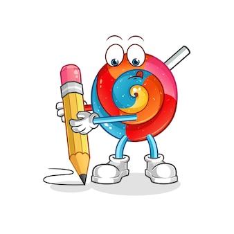 Lollipop escrever com ilustração de personagem a lápis