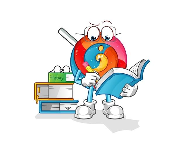 Lollipop estudando ilustração de mascote