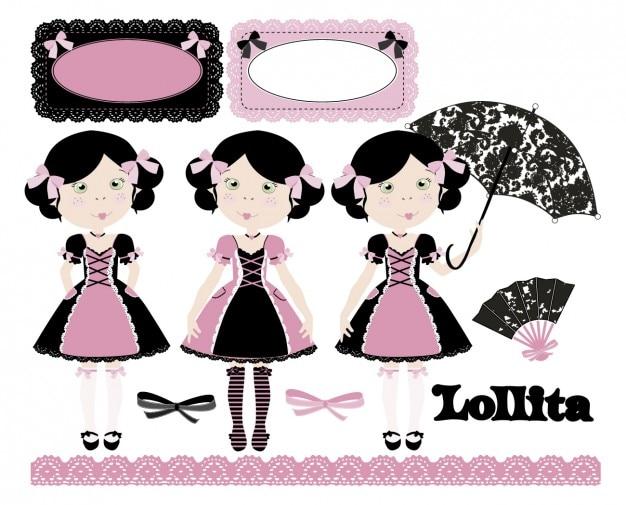 Lollita em rosa e preto