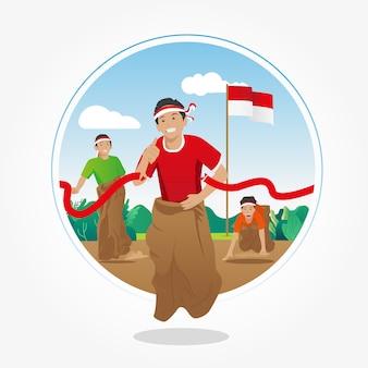 Lomba balap karung. competição sack race em 17 de agosto - dia da independência da indonésia