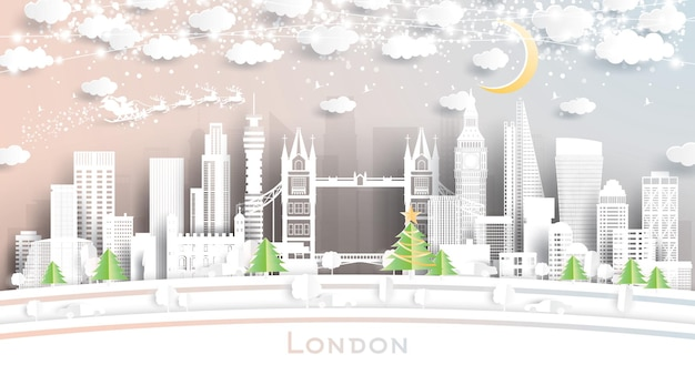 London england city skyline em estilo de corte de papel com flocos de neve, lua e neon garland. ilustração vetorial. conceito de natal e ano novo. papai noel no trenó.
