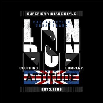 Londres atitude design gráfico tipografia abstrata bandeira para imprimir camisetas estilo moderno