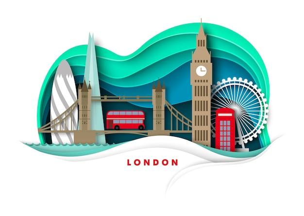 Londres, cidade, horizonte, vetorial, papel, corte, ilustração, big ben, torre, ponte, roda gigante, mundialmente, famosos, lan ...