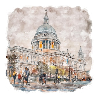 Londres, reino unido, esboço em aquarela, ilustrações desenhadas à mão