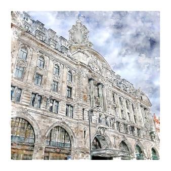 Londres reino unido esboço em aquarela.