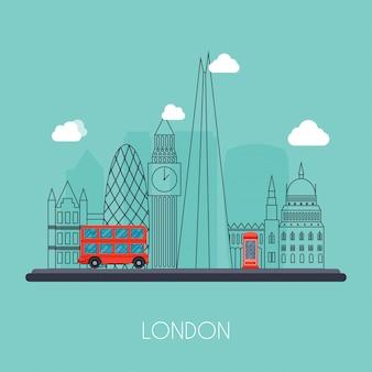 Londres. skyline e paisagem dos edifícios a capital da grã-bretanha. big ben, ponte, ônibus de dois andares e telefone. ilustração.