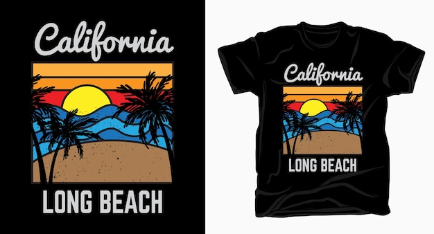 Long beach da califórnia com praia, palm e camiseta do pôr do sol