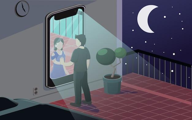 Longa distância romance vector illustration
