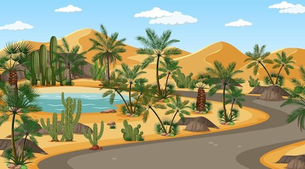 Longa estrada pela paisagem da floresta do deserto durante o dia