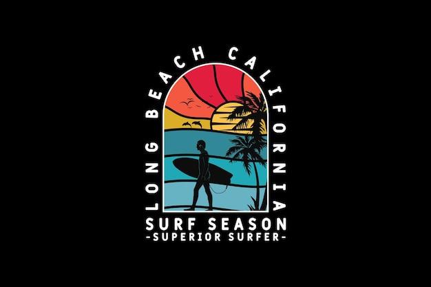 . longa temporada de surfe na praia, design de silhueta estilo retro