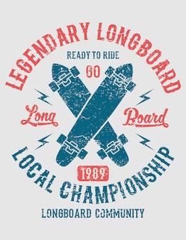 Longboard lendário, pronto para andar. design vintage